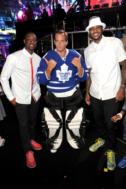Dwayne Wade, Will Arnett and Carmelo Anthony