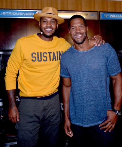 Carmelo Anthony and Michael Strahan