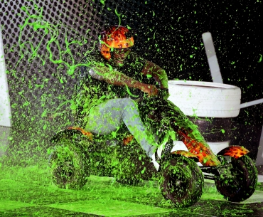 NFL player Von Miller reacts after getting slimed onstage
