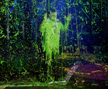 Host Russell Wilson is slimed onstage