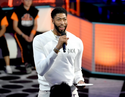 Anthony Davis speaks onstage