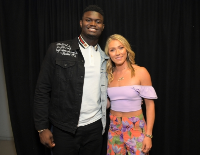 Zion Williamson (L) and Mikaela Shiffrin attend Nickelodeon Kids' Choice Sports 2019 at Barker Hangar on July 11, 2019 in Santa Monica, California