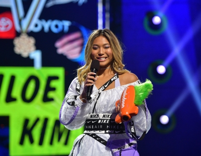 Chloe Kim accepts the Favorite Action Sports Star award